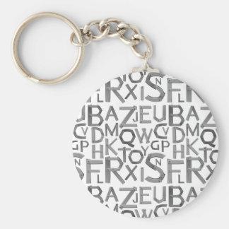 """Alfabeto 2,25"""" chaveiro básico do botão"""