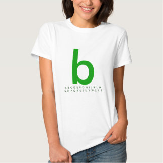 Alfabeto b verde t-shirt