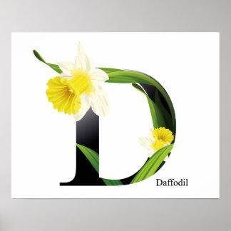 Alfabeto das flores com fundo da aguarela pôster