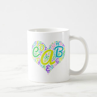 alfabeto do amor caneca de café