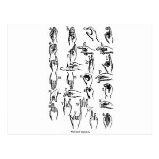 Alfabeto do linguagem gestual cartoes postais