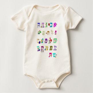 Alfabeto hebreu - veste do bebê macacãozinho para bebês