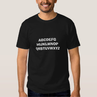 Alfabeto - texto de improviso camisetas