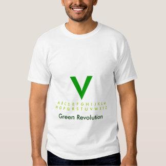 Alfabeto V verde T-shirt
