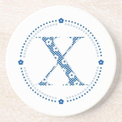 alfabeto X da flor (azul e pontos) Porta-copos
