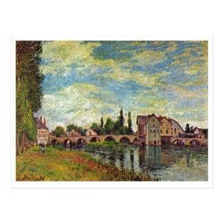 Alfred Sisley Brücke, Mühle v Moret im Sommer 1888 Cartões Postais