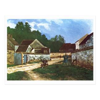 Alfred Sisley - Dorfstrasse no óleo de Marlotte 18 Cartao Postal