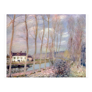 Alfred Sisley Loing - paisagem do óleo de Kanal 18 Cartao Postal