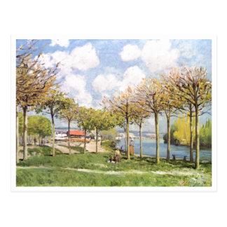 Alfred Sisley - morre o bei Bougival 1876 de Seine Cartões Postais