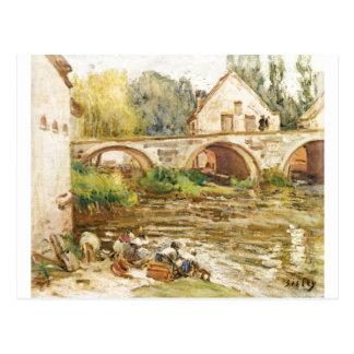Alfred Sisley - morre Wäscherinnen von Moret 1888 Cartão Postal