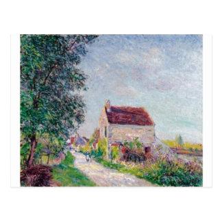 Alfred Sisley - óleo de Le vila DES Sablons 1885 Cartão Postal