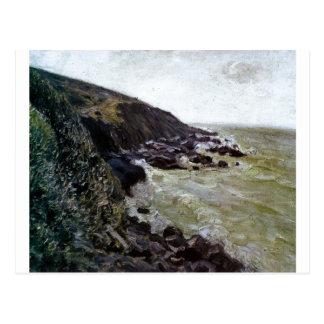 Alfred Sisley - rocha do mar da praia do óleo de V Cartões Postais