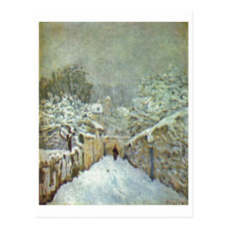 Alfred Sisley - Schnee no óleo de Louveciennes 187 Cartao Postal