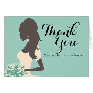 Algo cartões de agradecimentos azuis do chá de
