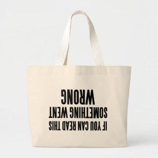 Algo foi mal slogan engraçado sacola tote jumbo