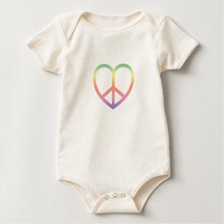 Algodão orgânico Onsie do coração da paz e do amor Body Para Bebê