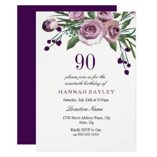 Algum convite cor-de-rosa do aniversário do 90 da