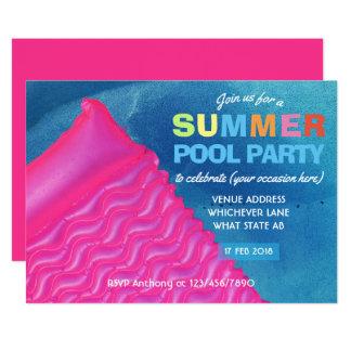 Algum convite da festa na piscina do verão da