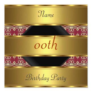 Algum damasco do preto do ouro da festa de convite quadrado 13.35 x 13.35cm