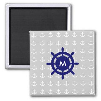 Algum ímã náutico da âncora do monograma ímã quadrado