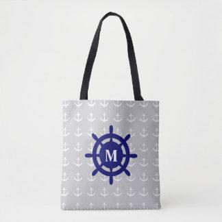 Alguma sacola náutica da âncora do monograma bolsa tote