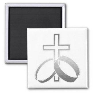 Alianças de casamento e arte transversal ímã quadrado
