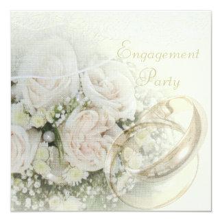 Alianças de casamento, rosas, pombas, festa de convite quadrado 13.35 x 13.35cm
