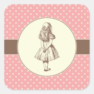 Alice em bolinhas do país das maravilhas adesivo quadrado