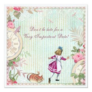 Alice feminino no aniversário do chique do país convite quadrado 13.35 x 13.35cm