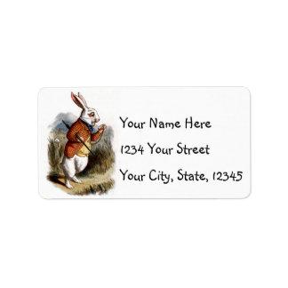 Alice nas etiquetas de endereço brancas do coelho