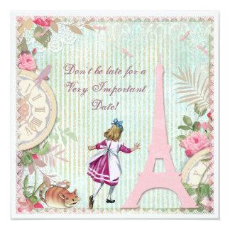 Alice no aniversário do chique de Paris Convite Quadrado 13.35 X 13.35cm