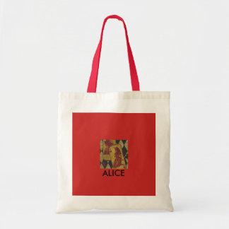 Alice no bolsa temático do país das maravilhas