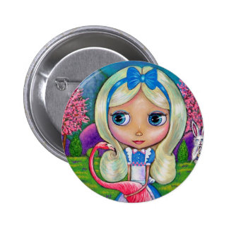 Alice no botão do país das maravilhas e do flaming bóton redondo 5.08cm