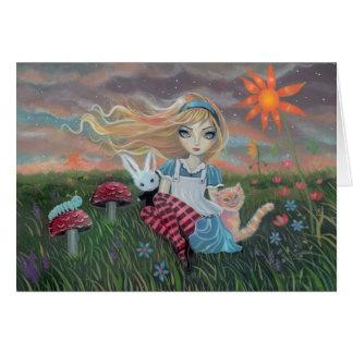 Alice no cartão da arte da fantasia do país das