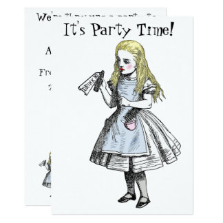 Alice no cartão do convite de festas do país das