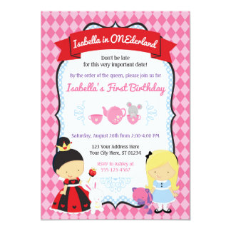 Alice no convite do aniversário de ONEderland