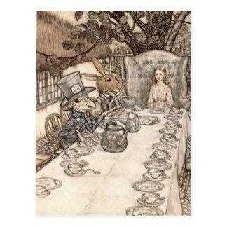 Alice no Hatter louco da ilustração do país das Cartão Postal