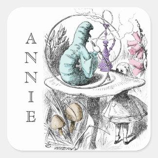Alice no nome do costume de Caterpillar do país Adesivo Quadrado