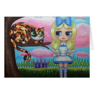 Alice no país das maravilhas e no cartão do gato