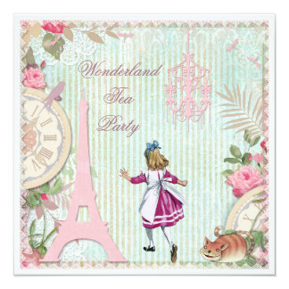 Alice no tea party do país das maravilhas do convite quadrado 13.35 x 13.35cm