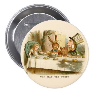 "Alice - tea party louco - 3"" botão bóton redondo 7.62cm"