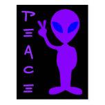 Alienígena da paz cartoes postais