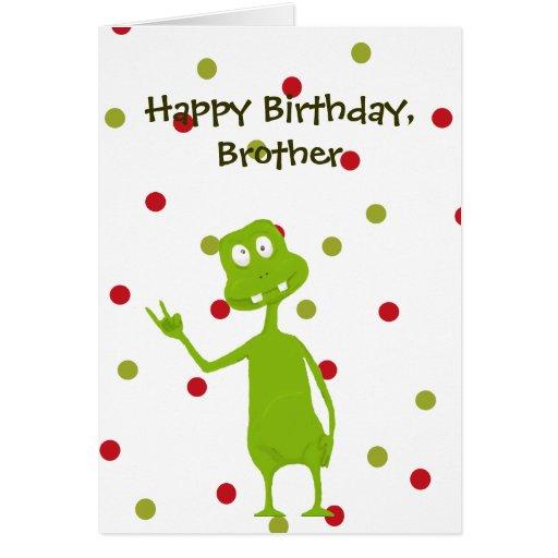 Alienígena de espaço do irmão do feliz aniversario cartao