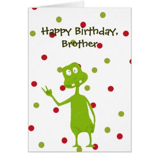 Alienígena de espaço do irmão do feliz aniversario cartão comemorativo