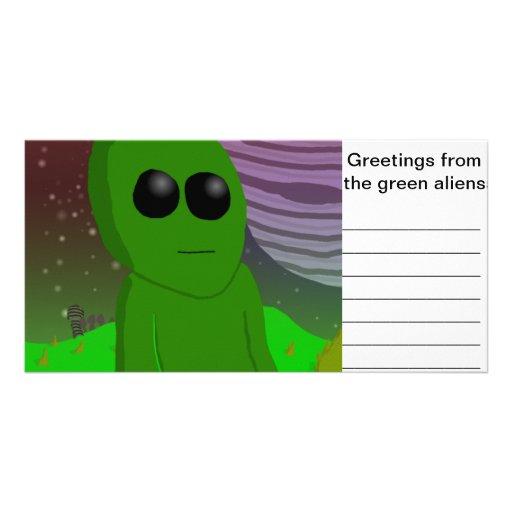 alienígena verde cartao com foto