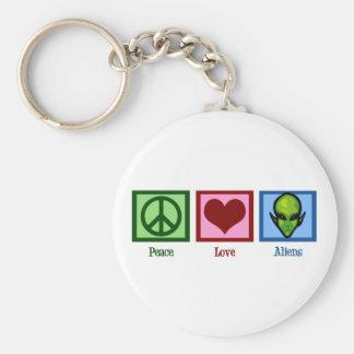 Aliens do amor da paz chaveiro
