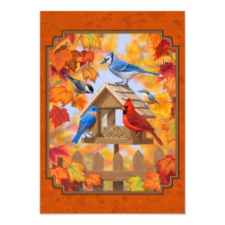 Alimentador do pássaro que recolhe a laranja do convite 12.7 x 17.78cm