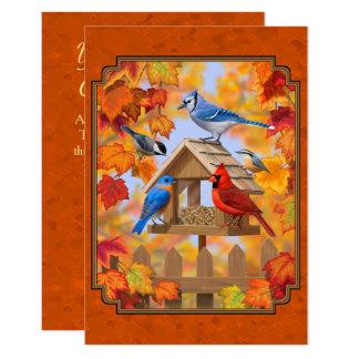 Alimentador do pássaro que recolhe a laranja do convite 8.89 x 12.7cm