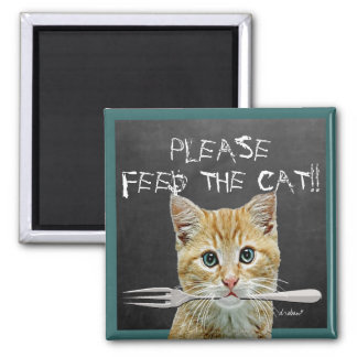 Alimente por favor o gato! - imã de refrigerador