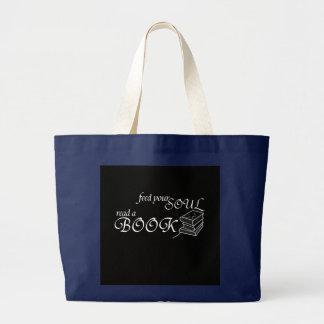 Alimente sua alma - saco de livro bolsa tote grande